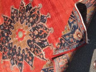 """solid antique persian bidjar rug great medallion design 8' 8"""" x 10' 8"""" wear at one end some black spots minor moth no dry rot clean rug no pets 685 plus shipping"""
