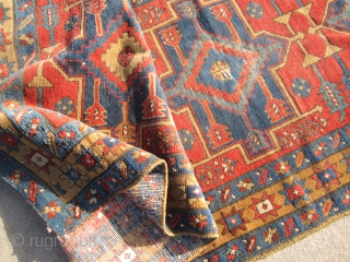"""antique karaja heriz runner measuring 3' 2"""" x 10' 7"""" great colors solid rug no dry rot clean some wear few old moth bite here and there one dime size repair as  ..."""