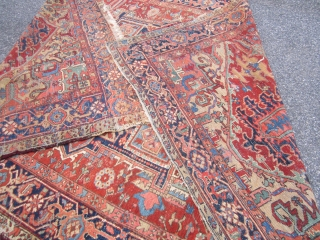 "great antique heriz rug measuring 8' x 11' 9"" beautiful colors solid rug no dry rot condition as shown clean no pets with some wear 1675.00 plus shipping