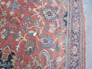 "huge antique mahal rug 10' 4"" x 13' 2"" great colors very floppy clean rug good low even pile minor foundation visible 3 clean holes and 2 tear easy fix huge profit  ..."