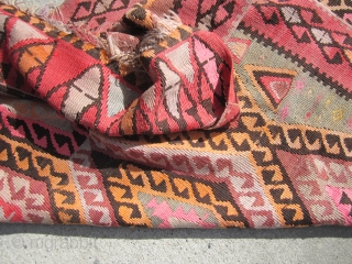 "kilim rug 3' 9"" x 13' 6"" some old moth clean will send more pictures if interested solid with no dry rot 175 plus shipping SOLD THANKS"