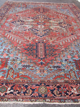 """huge heriz rug 10' 5"""" x 13' 7"""" great pile super floppy clean one corner have moth damage solid foundation easy repair huge profit otherwise the rug is in very good condition.  ..."""