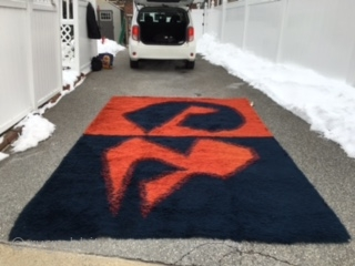 "Most gorgeous mid century vintage Panton Rya rug with rare color as shown navy and burned orange measuring room size of 7' 7"" x 11' 4"". This rug is from one smoke  ..."