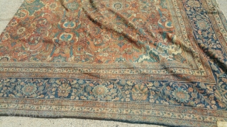 Antique mahal palace size 14 x 21 solid rug very floppy have old patches  clean rug can send more picture