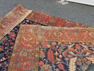 "Measures  8' x 11' 6"" nice colors Heriz rug solid rug has scattered moth damage needs cleaning being offered as found  1275.00 plus shipping