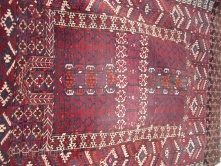 "antique turkoman ensi rug good condition good colors 375.00 plus shipping 46"" x 55"""
