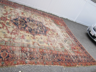 "antique oversize serapi heriz rug worn condition beautiful colors has been cleaned no dry rot 2 big holes and 3 tear in one side easy restoration for huge profit measures 11' 7""  ..."
