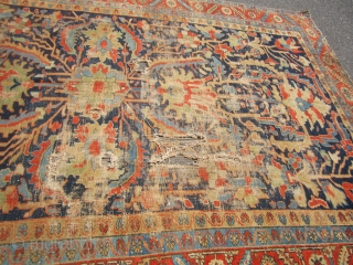 "beautiful antique heriz serapi rug 7' 11"" x 11' 9"" good general pile damaged in the middle loos to the ends no dry rot no pets and no smoke needs cleaning"