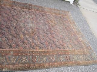 "antique oriental rug looks to me like turkish but not sure maybe mahal gallery size 7' 6"" x 14' 8"" solid rug no holes some low pile visible foundation and some old  ..."