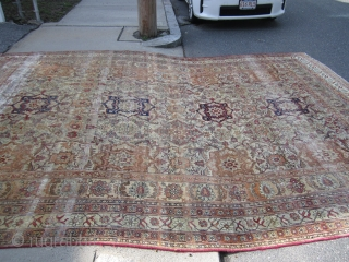 """antique kirmanshah or lavar measuring 9' 6"""" x 13' 10"""" great design clean no dry rot one end is worn with couple of small holes nothing major please keep in mind everything  ..."""