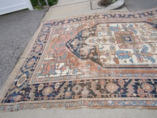"antique heriz serapi rug 8' 8"" x 12' 6"" in poor condition restorable as shown nice design and rare colors no dry rot no pets 1375.00 plus shipping SOLDDDDDDDDDDDDDDDDDDDDDDDDDD"