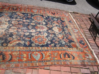 "heriz rug measuring 7' 2"" x 10' 5"" good colors worn area and repair and one patch as shown no dry rot no pets $625 plus shipping SOLDDDDDDDDDDDDDDDDDDDDDDD"