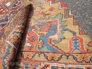 "antique heriz serapi can't get better color than this great galat design rare size 7' 7"" x 9, 6"" one ends are in poor condition not your typical cemetrical design wear as  ..."