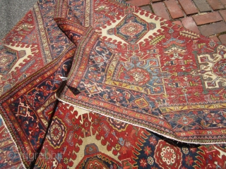 "persian karaja rug great rare size great colors solid rug no dry rot no damage some wear as shown 8'  x  10' 9"" clean everything sells here check me outSOLDDDDDDDDDDDDDDDDD  ..."