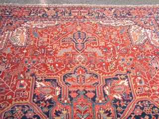 "nice old heriz karaja rug measures 9' 4"" x 11' 7"" very good condition couple of minor low spot and few loose selvage no animal or smoke ends are fine nice colors  ..."