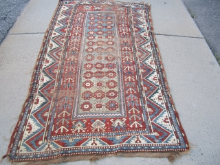 "solid antique caucasian rug in worn condition great design and colors clean rug no dry rot. 4' 2""  x 7' 4"" SOLD THANKS"