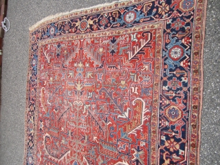 "nice antique heriz rug measuring 7' 6"" x 11' 2"" nice colors solid rug some scattered wear great touch up candidate no dry rot no stain 750 plus shipping. SOLD THANKS"