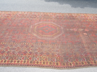 """huge antique BASHIR rug 8' 7"""" x 21' 7"""" great colors solid rug have few repairs its all there no dry rot clean rug"""