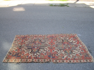 "antique eagle kazak 3' 9"" x 6' 10"" in poor condition fragment nice design 185.00 plus shipping SOLD THANKS"