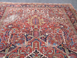 "nice old heriz rug with nice colors good pile all around 2 worn spot as shown one end missing a row measures 8' 8"" x 11' 9"" solid rug no pets 785.00  ..."