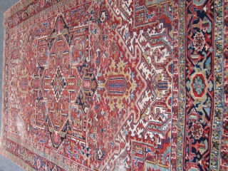 """nice old heriz rug with nice colors good pile all around 2 worn spot as shown one end missing a row measures 8' 8"""" x 11' 9"""" solid rug no pets 785.00  ..."""