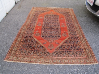 "antique persian senneh oriental rug 4' 2"" x 6' 2"" nice condition minor loss to the ends great original estate rug 585.00 plus shipping  SOLD THANKS"