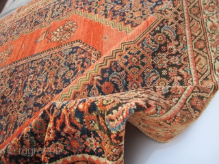 """antique persian senneh oriental rug 4' 2"""" x 6' 2"""" nice condition minor loss to the ends great original estate rug 585.00 plus shipping  SOLD THANKS"""