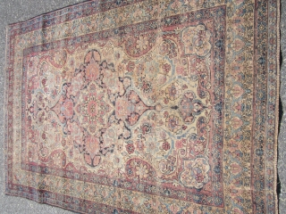 "beautiful antique kermanshah ravar rug 4' 2"" x 6' 3"" solid thin rug no dry rot even wear great colors no holes great designer rug very fine weave 425.00 plus free shipping  ..."