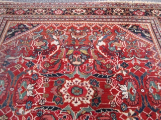 """great rare squarish old mahal persian rug good general condition  worn fringes couple of low spot nothing major great colors very floppy measures 8' 11"""" x 10' 2"""" cheap money"""