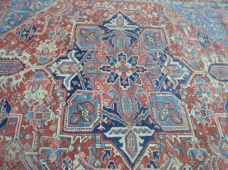 "antique heriz wanted colors great condition some scattered surface wear not worn great pile beautiful solid rug clean ready to be used  measures 8' 9"" x 11' 5"". SOLD"