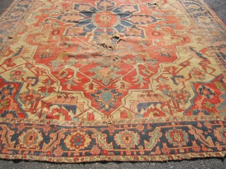 "beautiful serapi heriz rug 9' 7"" x 12' beautiful colors no dry rot poor condition as shown holes and wear no pets and no smoke  1675.00 plus shipping"