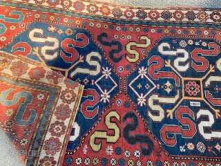 "antique cloudband caucasain rug measuring 4' 4"" x 8' 2"" great design and colors very good condition some old repiling clean read to go. SOLDDDDDDDDDDDDDDDDDDDDDDD"