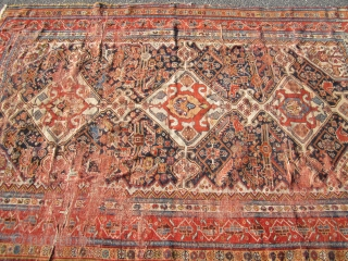 """antique ghashgaie rug 4' 7"""" x 7' worn condition great colors creased .  SOLD THANKS"""