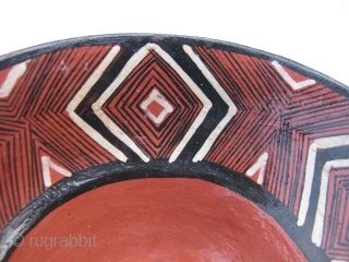 Vintage Mucahua pottery bowl for Chi Cha drink, Quichua Indians, ( Kichwa Indians ), Ecuador, Amazon Rain Forest, fine line hand painting, lacquered with tree resin, I bought this from a woman  ...