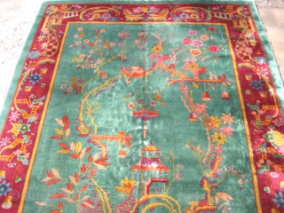 Antique Art Deco Chinese rug, hand knotted wool, China, ca.1920, Nichols type, a one way pictorial rug, a large bird aviary with climbing ladders and toys, and of course the bird, this  ...
