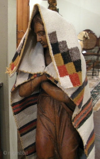 Navajo Child's Blanket (Serape), hand woven hand spun wool, SW United States, ca. 1900, this one has an hour glass constriction 13 inches from the top, I see it in some of  ...