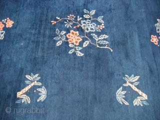 Antique Chinese rug, hand knotted wool, China, ca.1920, floral sprays on a blue field with a lighter blue border, the two inner borders are chocolate and blush pink, this is a rug  ...