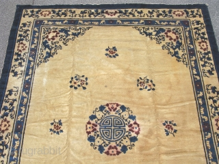 Antique Chiese Peking rug, hand knotted wool, Northern China, late 19thC, beige with shades of blue and some red accents, the central design is the round form of the character Shou, it  ...