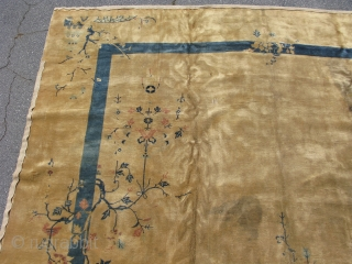 Antique Chinese Peking rug, hand knotted wool, China, ca.1910, 12 ft x 14 ft 4 in,  now a classic blue and white Chinese rug, this was an early example of experimentation  ...