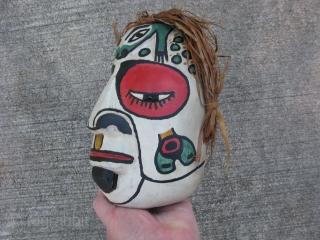 Vintage Pacific Northwest Coast portrait mask, hand carved wood, hand painted, cedar bark hair, hide ties, Kwakwaka'wakw People, (Kwakiutl), or their neighbors the Bella Coola, general good condition with only minor dings,  ...