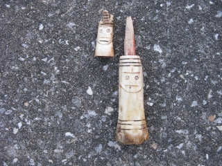 Old Dayak figure, Dyak People, hand carved powder container with wood stopper, South Pacific, Borneo, Indonesia, cow bone, bovine, like any good head hunter tribes, the head pops off, a shaman's figure  ...