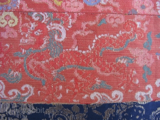Antique Chinese brocade, China, Ming Dynasty, 17thC, potentially earlier, fine silk and metal threads, 4 claw dragon design, for the royal level of Duke, these are fragments of a long belt, possibly  ...