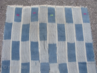 Vintage African indigo cloth, new shipment, Baule People, Cote d'Ivoire, hand spun cotton dyed with indigo, woven into narrow strips and sewn together, I have hand washed the piece, the approximate size  ...