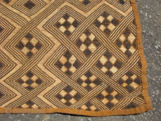 African Kuba raffia cloth, hand woven palm fiber, the entire design is flat stitch embroidery, vintage, Congo, Kuba people ( Shoowa ), some staining, the sides are not perfectly straight, but it  ...