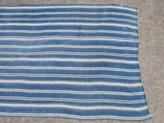 Vintage African indigo cloth, hand woven cotton, Mossi People, Burkina Faso, this is not mud cloth, the cotton fiber is dyed first, and woven by hand into small strips that are then  ...