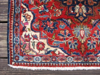 Semi-antique Persian kirk wool Kashan ( Keshan ), hand knotted wool, Iran, ca.1930's, single medallion on a red field, good pile, sides and ends secure, small blue guard border missing one end,  ...