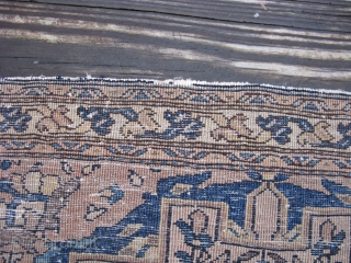 Antique Persian Sarouk rug, finely hand knotted wool, Iran, the design is very complex and as beautiful as a stained glass window, most dealers would call this rug Sarouk Farahan, however, it  ...