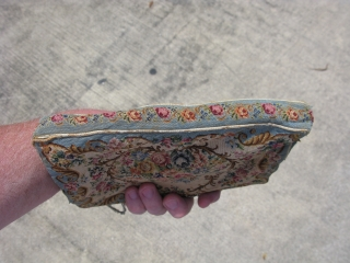 Antique French petit point purse, hand woven silk embroidery, micro-point,42 stitches per linear inch, so about an amazing1,760 stitches per square inch, the number of colors and shades of color are incredible,  ...