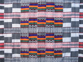 Vintage African wedding blanket, Fulani People, hand woven cotton, woven in narrow strips and sewn together, this is an unusual weaving tradition, since they are made by men, the nomadic Fulani cattle  ...