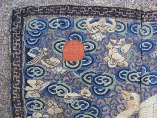 Antique Chinese rank badge, depicting a paradise flycatcher, a male 9th rank of civil service for the front of a robe, silk and gold threads, hand woven tapestry, Kossu, Kesi, embellished with  ...